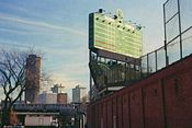 The back of Wrigley Field, with old fashioned scoreboard taken during an offseason before the reconstruction of 2005