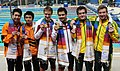 XIX Commonwealth Games-2010 Delhi Winners of (Men`s) Swimming 3M Springboard Diving, Despatie Alexandre and Ross Reuben of Canada (Gold).jpg