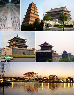 From top: لشکر سفالین، Giant Wild Goose Pagoda, Drum Tower of Xi'an, Bell Tower of Xi'an, City wall of Xi'an, Tang Paradise at night