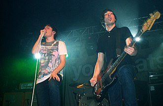 Take Off Your Colours - Vocalist Josh Franceschi (left) and bassist Matt Barnes (right) performing on the Take Off Your Colours Tour in Oxford on 26 October 2008.