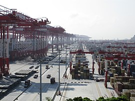 Due to Yangshan Port, Shanghai has become the world's busiest container port. Yangshan-Port-Containers.jpg
