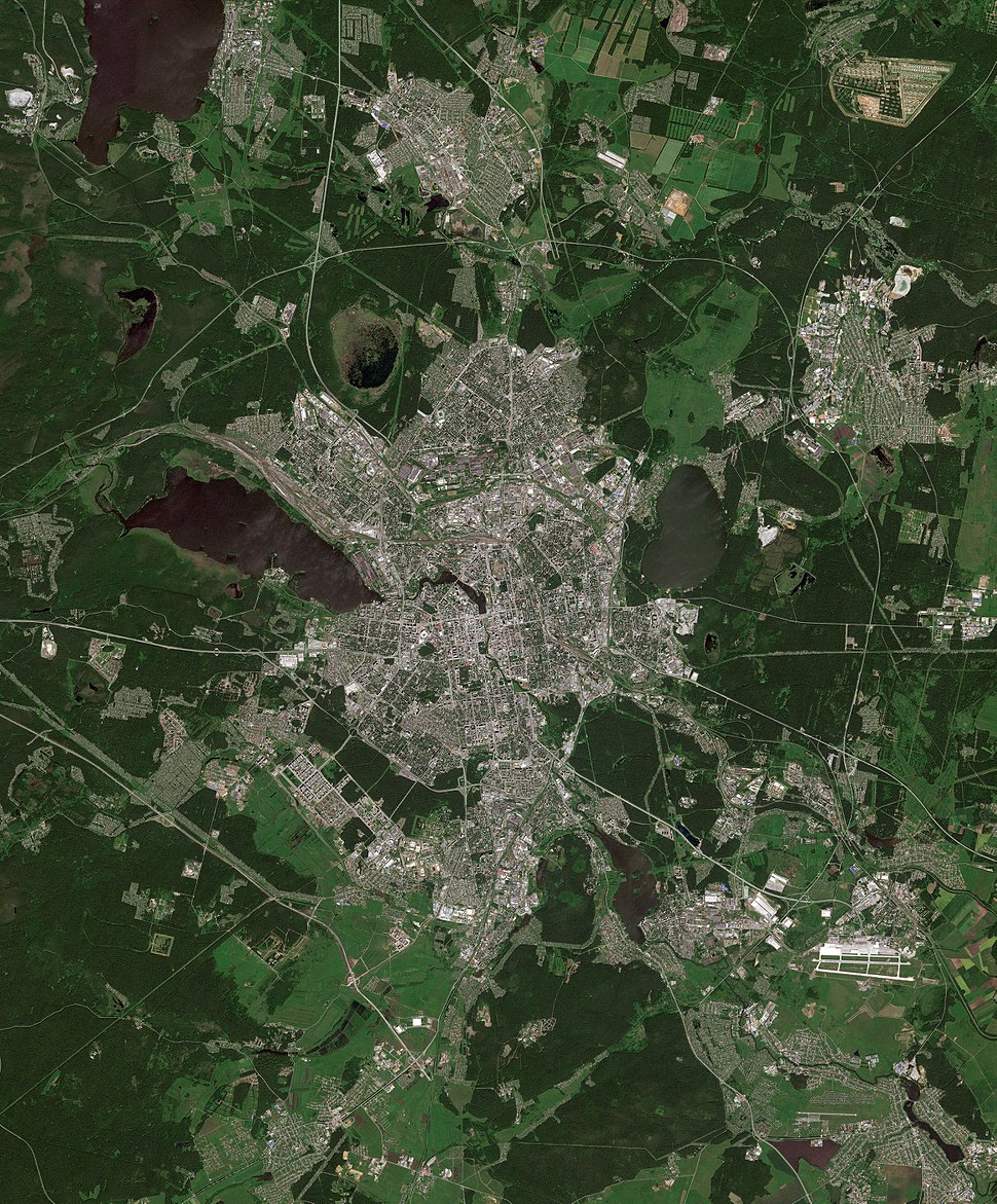 Yekaterinburg City (Russia) and vicinities, satellite image 2017-07-12