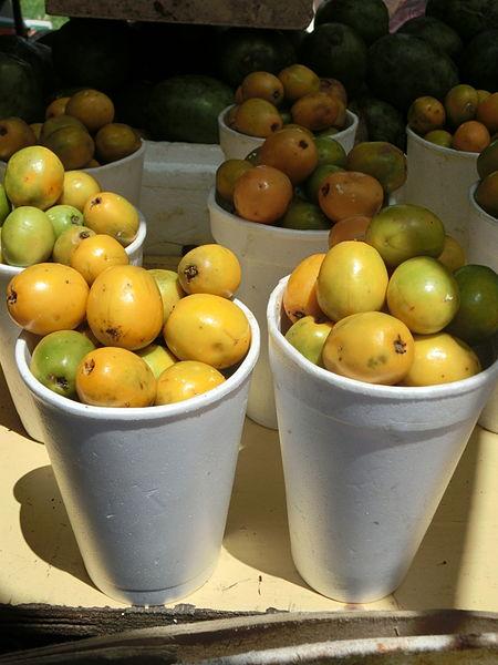 El fruto comestible de Spondias mombin ( Yellow Mombin)