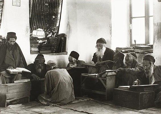 Yemenite Jewish elders at study, 1906–1918, in Israel