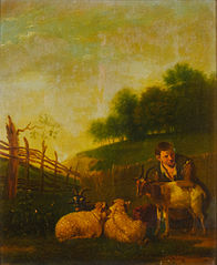 Young Shepherd Milking a Goat
