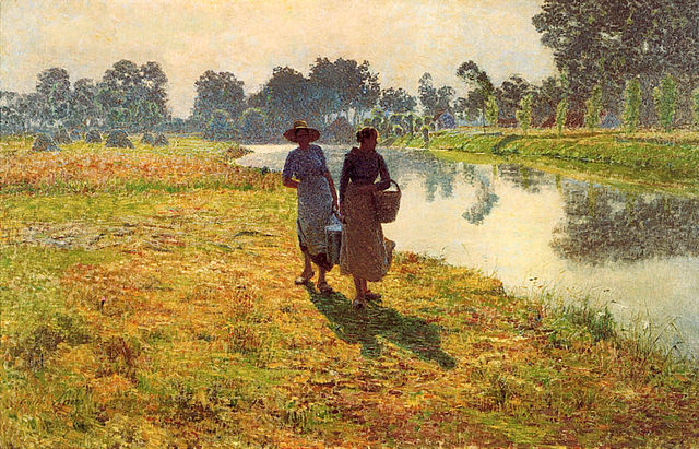 640px-Young_peasant_women_at_the_leie,_by_EmileClaus.jpg (640×411)