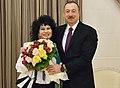 Zeynəb Xanlarova, İlham Əliyev (cropped).jpg