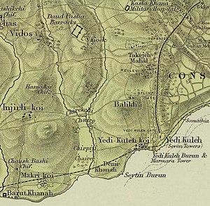 Balıklı, Istanbul - Old map of Zeytinburnu representing Balikli