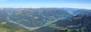 Zillertal general view from Strass (right back) to Mayrhofen (front bottom) and transition to Tuxertal (left)