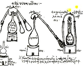 Distillation - Distillation equipment used by the 3rd century alchemist Zosimos of Panopolis, from the Byzantine Greek manuscript Parisinus graces.