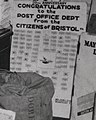 """20th Anniversary Congratulations to the Post Office Dept. from the Citizens of Bristol PA"" 1938 art detail, from- Postmaster General James A. Farley During National Air Mail Week, 1938 (cropped).jpg"