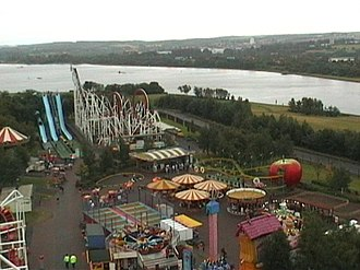 M&D's - A number of rides at the park are pictured: at the far left is Moby's Revenge, the water slides.