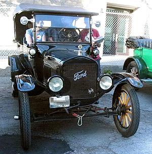 Suspension (vehicle) - The front suspension components of a Ford Model T.