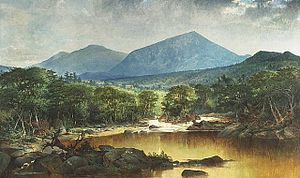 John Mix Stanley - River in a Mountain Landscape, oil on canvas painting by John Mix Stanley, c. 1840s