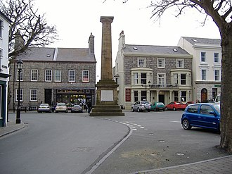 Castletown railway station - Castletown Square with the Smelt Memorial at its centre; this is approximately 10 minutes' walk from the station