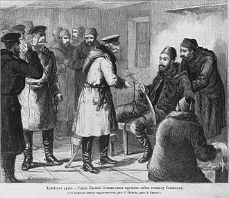 Siege of Plevna - The wounded Osman Pasha surrenders (from a Russian book)