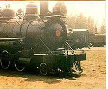 Photograph of Brooks-Scanlon Corporation Locomotive No.1 on static display at Steamtown, USA, Bellows Falls, VT, ca. 1974