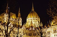 03 2019 photo Paolo Villa - F0197917 - Budapest - Parlamento - notte - luci- alberi - cupola - Neomedievalismo Neogotico.jpg