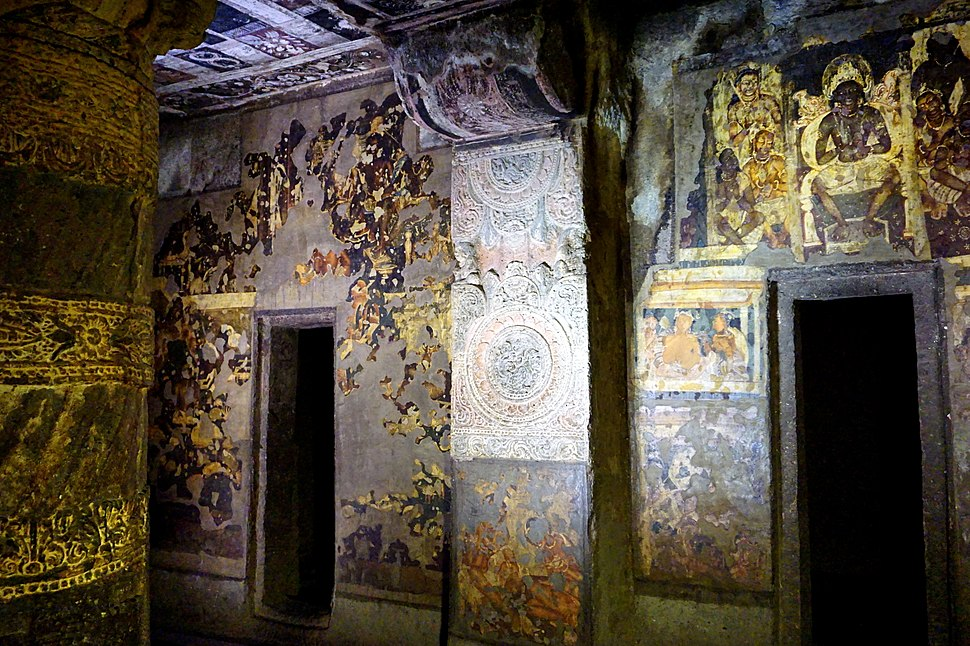 044 Cave 2, Paintings and Pillar (34149165821)