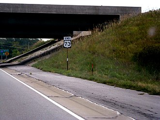 U.S. Route 73 - US-73's former southern terminus at I-435 in Kansas City.