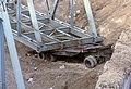 099R11160183 Reichsbrücke, Westseite, Blick stromaufwärts, Ersatzbrücken werden wieder demontiert und die Tragwerke mit Schiffskränen auf Donauinsel gesetzt.jpg