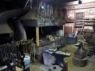Forge Workshops of a blacksmith, who is an ironsmith who makes iron into tools or other objects