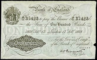 Chief Cashier of the Bank of England - £100 note from 1938 bearing the signature of the then Chief Cashier, Kenneth Peppiatt