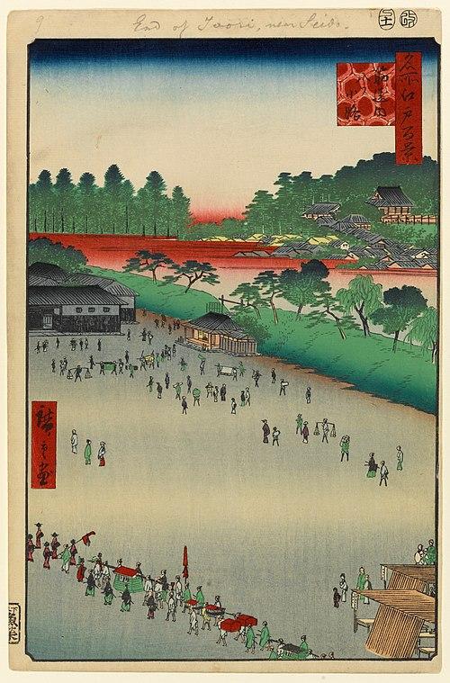 歌川広重、『名所江戸百景』より「筋違内八ツ小路」、明暦の大火後に設けられた火除地の一つ