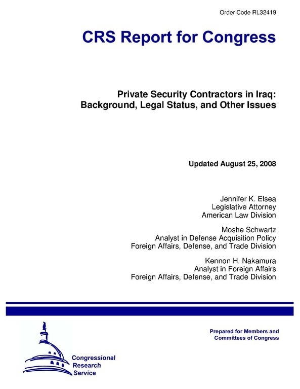 File:110391 Private Security Contractors in Iraq Background, Legal Status,  and Other Issues (IA  110391PrivateSecurityContractorsinIraqBackgroundLegalStatusandOtherIssues-crs).pdf  - Wikimedia Commons