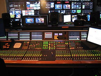 Audio mixing - Audio console in a cable news control room.
