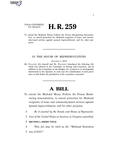 File:116th United States Congress H. R. 0000259 (1st session) - Medicaid Extenders Act of 2019 A - Introduced in House.pdf