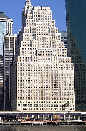 Wedding-cake style - 120 Wall Street in New York, a skyscraper from 1930, is a typical example of wedding-cake architecture.