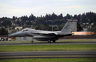 142nd Fighter Wing - An Oregon Air National Guard F-15C Eagle takes off from the Portland Air National Guard Base Oct. 2, 2010.