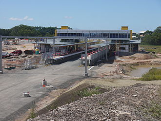 Redcliffe Peninsula railway line - Mango Hill Station under construction (March 2015)