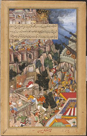 Siege of Chittorgarh (1567–1568) - Image: 1567 A mine explodes during the siege of Chitor right Akbarnama large