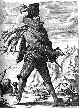 Il Capitano - The Captain uses bravado and excessive shows of manliness to hide his true cowardly nature. Engraving by Abraham Bosse.