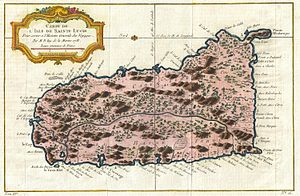 History of Saint Lucia - A 1758 map of Saint Lucia