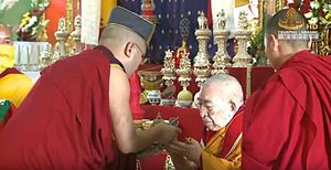 Thrangu Rinpoche - 17th Karmapa performs Long Life Offering to Kenchen Thrangu Rinpoche