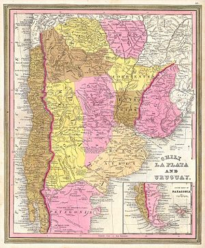 1846 Burroughs - Mitchell Map of Argentina, Uruguay, Chili in South America - Geographicus - LaPlata-m-1946.jpg