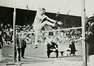 Athletics at the 1912 Summer Olympics – Men's standing high jump - Adams on the way to win the gold medal.