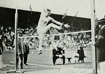 Platt Adams during the standing high jump comp...