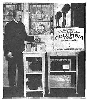 History of radio disc jockeys - Lee DeForest broadcasting Columbia phonograph records on New York station 2XG in 1916.