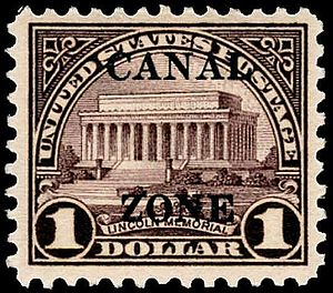 Postage stamps and postal history of the Canal Zone - 1925 U.S. $1 stamp overprinted for use in the Canal Zone.