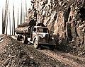 1939. Log truck loaded with burned logs. Meehan operation. Tillamook Burn, Oregon. (34632742270).jpg