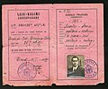 1940 Albanian Kingdom Laissez Passer issued for traveling to Fascist Italy after the invasion of 1939.jpg
