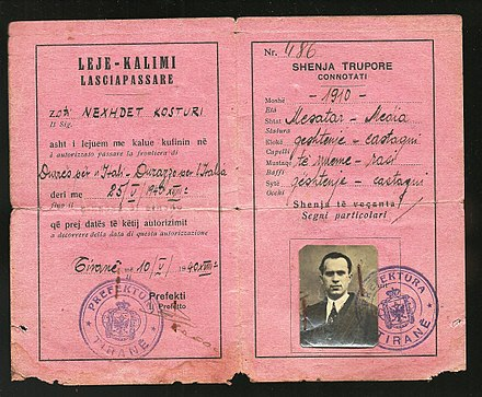 1940 Albanian Kingdom Laissez Passer issued for traveling to Italy after the invasion of 1939 1940 Albanian Kingdom Laissez Passer issued for traveling to Fascist Italy after the invasion of 1939.jpg