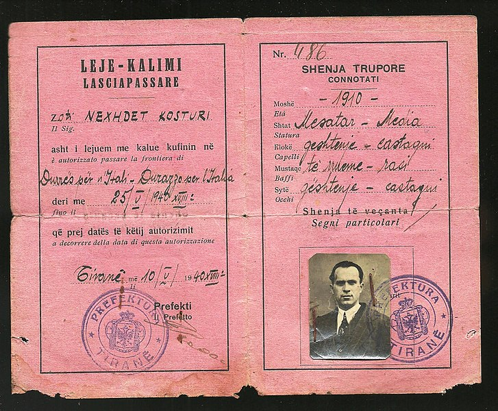 File:1940 Albanian Kingdom Laissez Passer issued for traveling to Fascist Italy after the invasion of 1939.jpg
