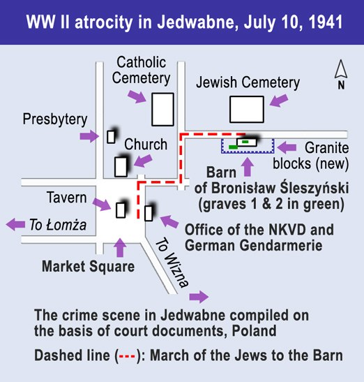 1941 atrocity in Jedwabne (map)