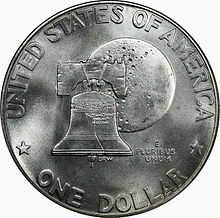 A coin, with the design featuring the Liberty Bell superimposed against the Moon