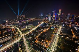 Marina Bay Street Circuit - Image: 1 singapore f 1 night race 2012 city skyline